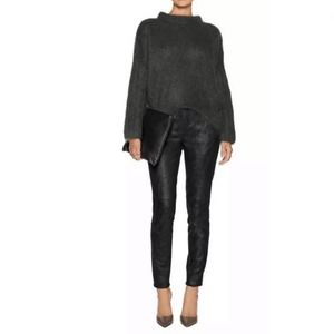 Theory Pittella Lambs Leather Suede Black Pants 4